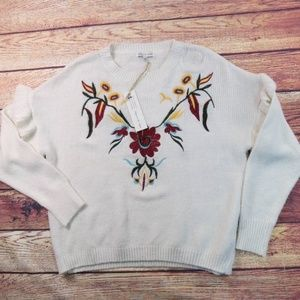 Woven Heart Cream Embroidered Flower Sweater